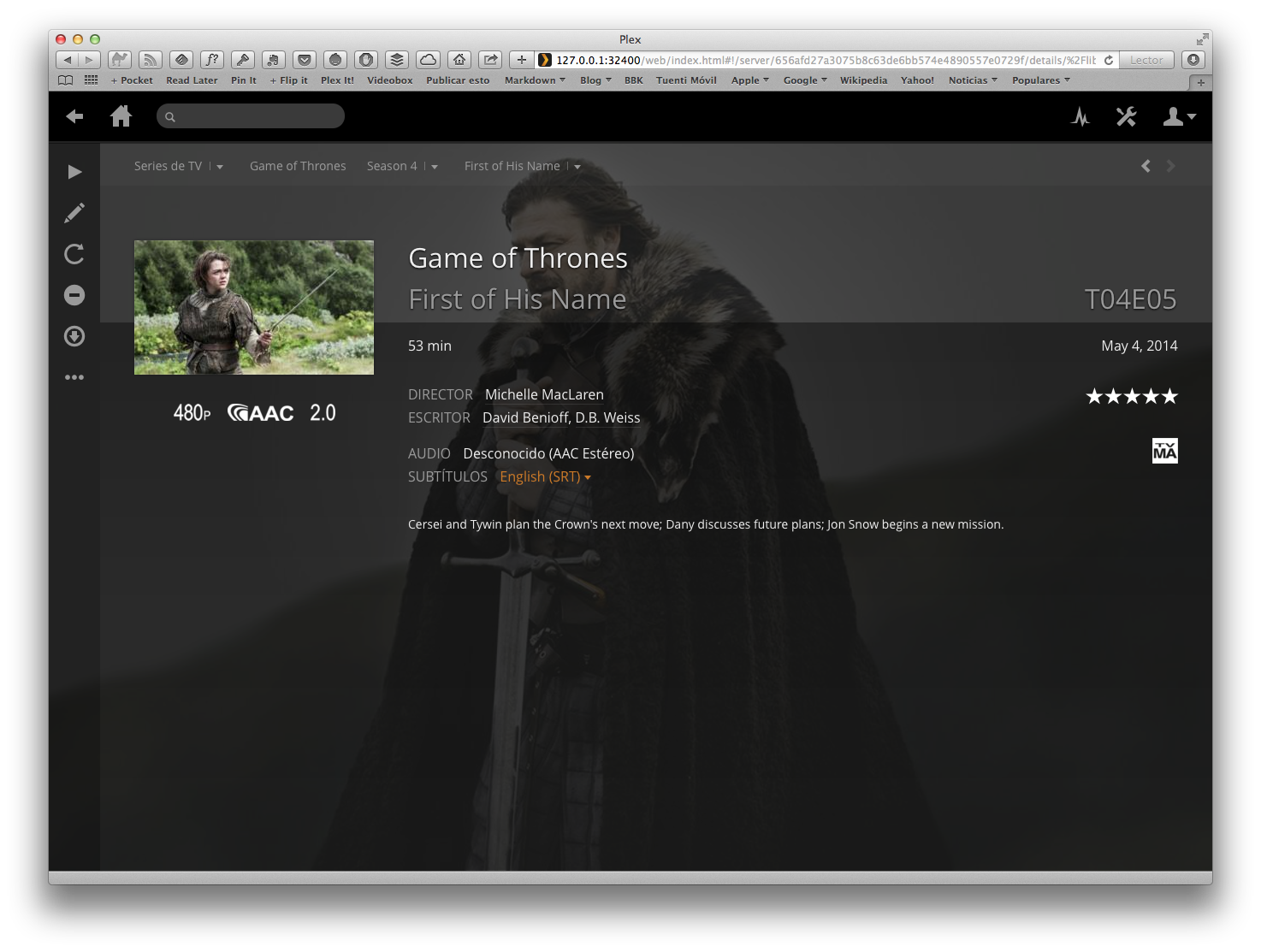 Plex - Series TV - Game of Thrones - Season 4 - Episode 5