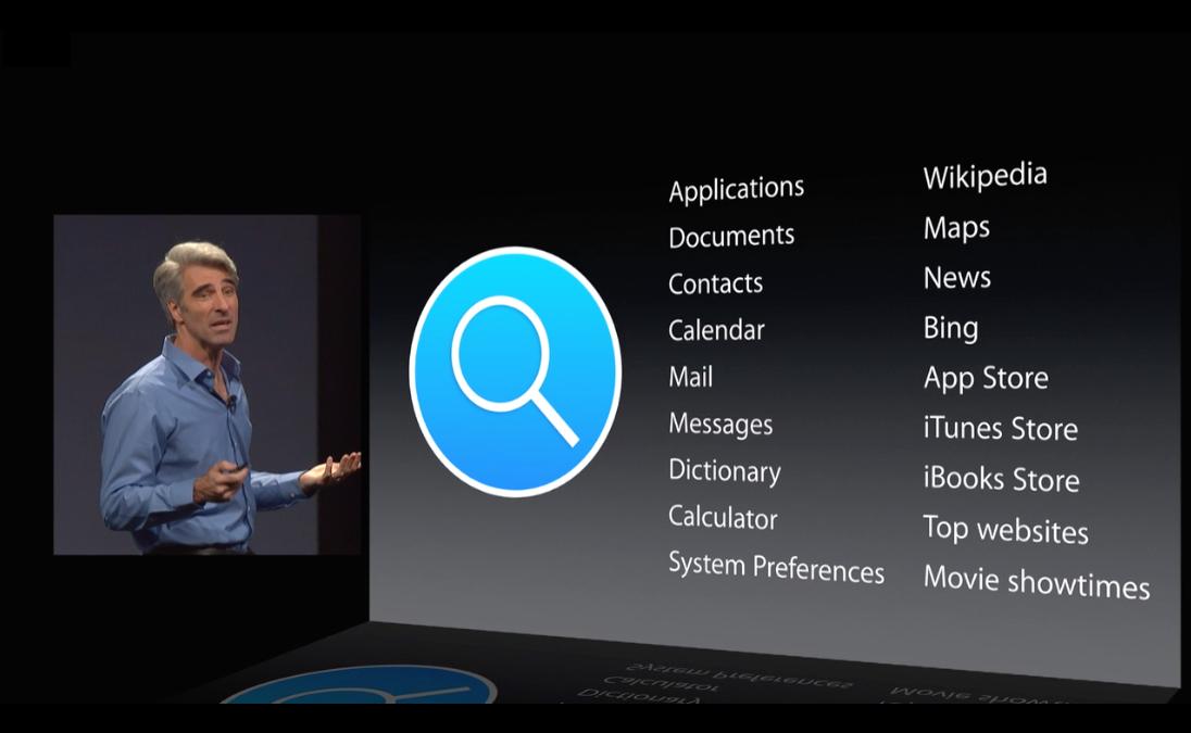 Craig Federighi presentando la nueva *Spotlight* en la *WWDC 2014*