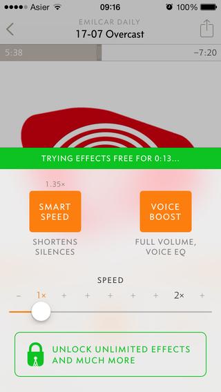 Prueba de los efectos de audio en Overcast y botón de compra dentro de la app