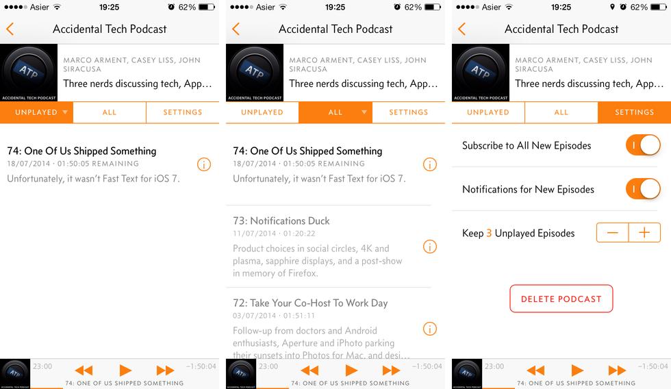 Pestañas en cada podcasts de Overcast: No Reproducidos, Todos y Ajustes