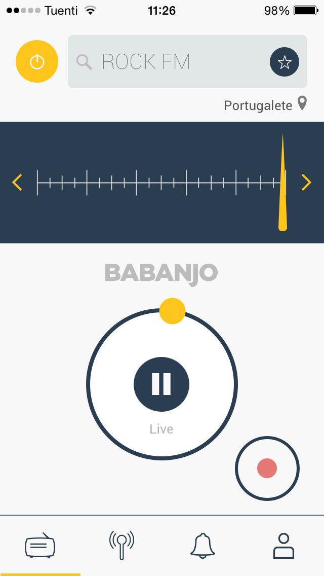 Interfaz de Babanjo Radio para iPhone
