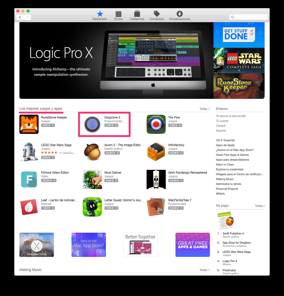 Dropzone destacada en la Mac App Store
